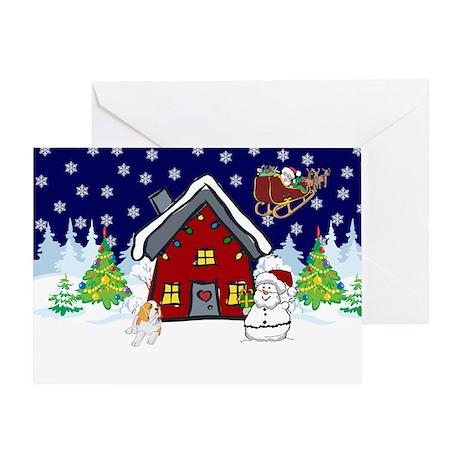 Cute St Bernard Christmas Greeting Card