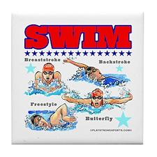 Swimming (F) Tile Coaster