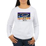 XmasSunrise/2 Border Collies Women's Long Sleeve T