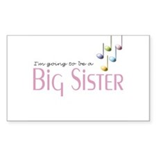 Music Notes Big Sister Rectangle Decal