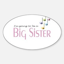 Music Notes Big Sister Oval Decal