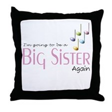 Music Notes Big Sister Again Throw Pillow