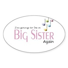 Music Notes Big Sister Again Oval Decal