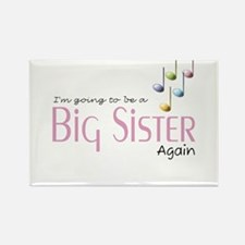 Music Notes Big Sister Again Rectangle Magnet