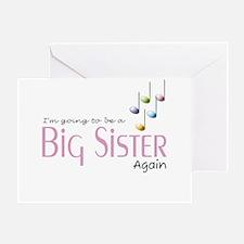 Music Notes Big Sister Again Greeting Card