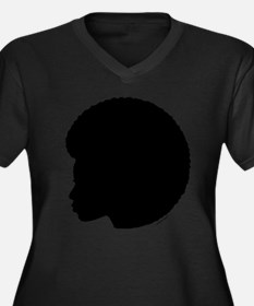 Black Afro Women's Plus Size V-Neck Dark T-Shirt