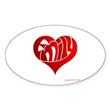 Emily (Red Heart) Oval Decal