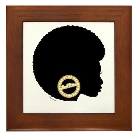 Black Afro Bling Framed Tile