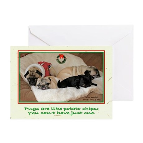Potato Pugs Christmas Greeting Cards (Pk of 10)
