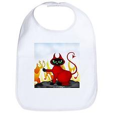 Devil Black Cat & Flames Bib