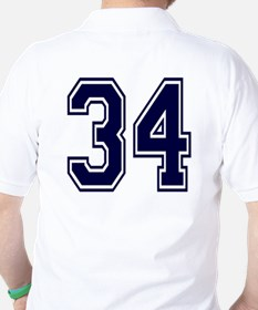 NUMBER 34 BACK Golf Shirt