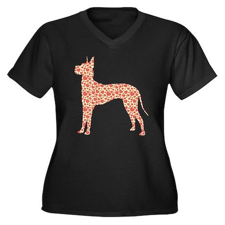 Great Dane Women's Plus Size V-Neck Dark T-Shirt