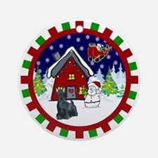 Cute Scottie Christmas Ornament (Round)