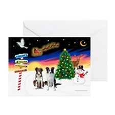 XmasSigns/2 Border Collies Greeting Cards(Pk/20)