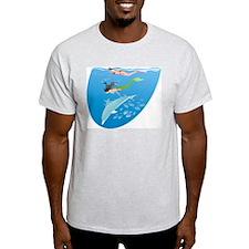 Mermaid, Snorkeler & Dolphin Ash Grey T-Shirt