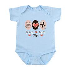 Peace Love Fly Pilot Infant Bodysuit
