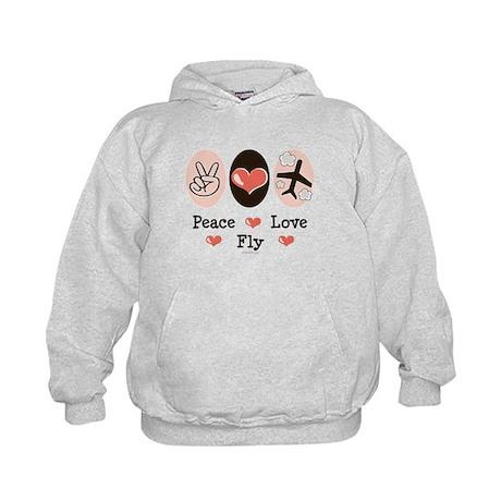 Peace Love Fly Pilot Kids Hoodie