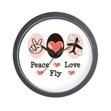 Peace Love Fly Pilot Wall Clock