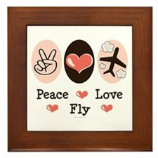Peace Love Fly Pilot Framed Tile