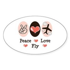 Peace Love Fly Pilot Oval Decal