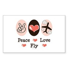 Peace Love Fly Pilot Rectangle Decal