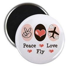 """Peace Love Fly Pilot 2.25"""" Magnet (100 pack)"""