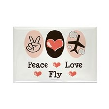 Peace Love Fly Pilot Rectangle Magnet