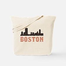 Vintage Boston Skyline Reusable Tote Bag