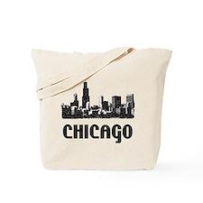 Chicago Skyline Vintage Reusable Canvas Tote Bag