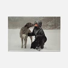 Irish Wolfhound Kissing Girl Rectangle Magnet