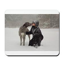 Irish Wolfhound Kissing Girl Mousepad