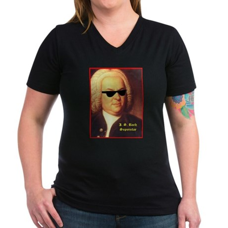 JS Bach, Superstar Women's V-Neck Dark T-Shirt