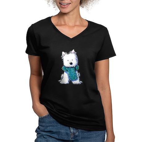Fuzzy Scarf Westie Women's V-Neck Dark T-Shirt