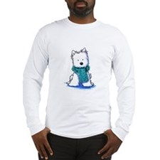 Fuzzy Scarf Westie Long Sleeve T-Shirt