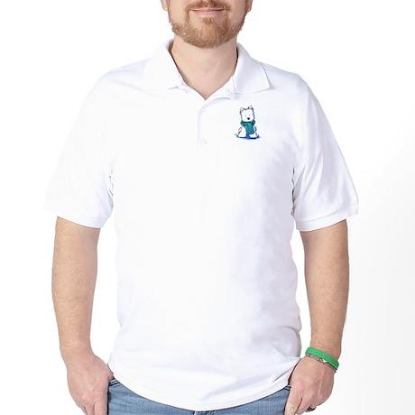 Fuzzy Scarf Westie Golf Shirt