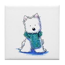 Fuzzy Scarf Westie Tile Coaster