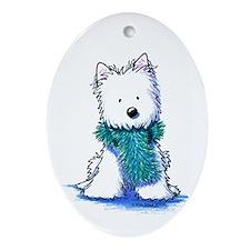 Fuzzy Scarf Westie Oval Ornament