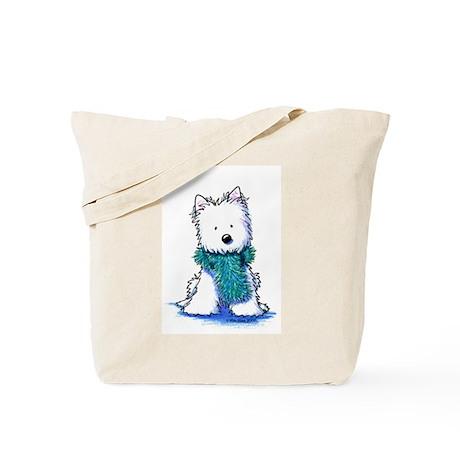 Fuzzy Scarf Westie Tote Bag