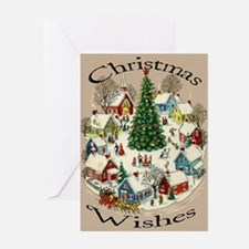 Vintage Small Town Scene Christmas Cards (Pk 10)