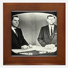 Nixon Vs Kennedy Debate Framed Tile