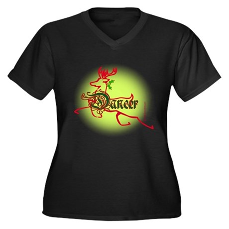 Reindeer Dancer Women's Plus Size V-Neck Dark T-Sh