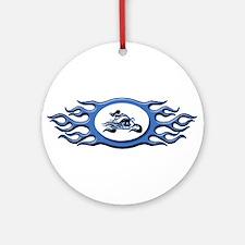 Biker Chick - Blue Ornament (Round)