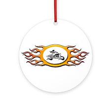 Biker Chick -Yellow Ornament (Round)