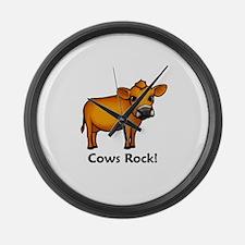 Cows Rock! Large Wall Clock