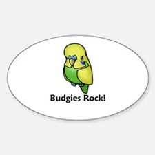 Budgies Rock! Oval Decal