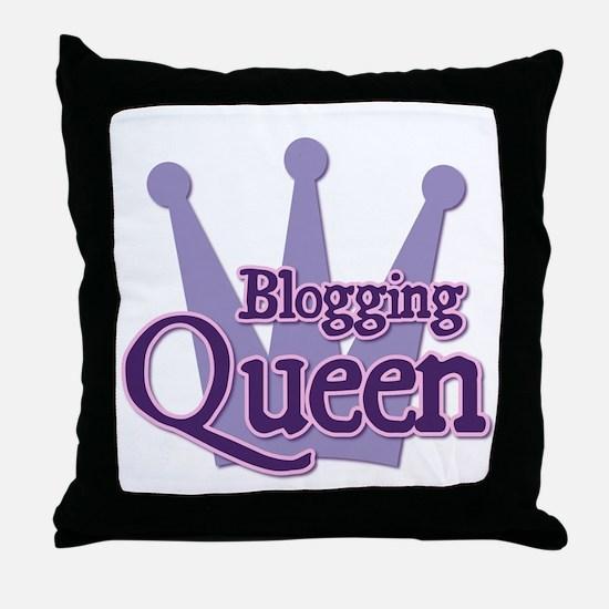 Crown Blogging Queen Throw Pillow