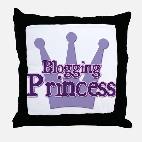 Crown Blogging Princess Throw Pillow