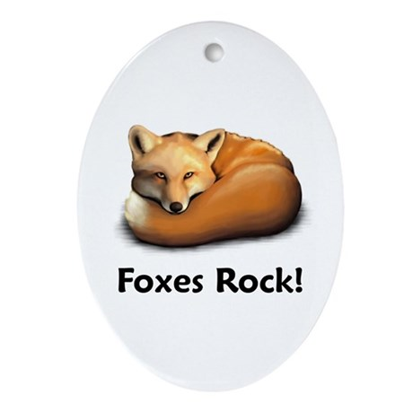 Foxes Rock! Oval Ornament
