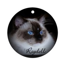 Seal Mitted Ragdoll Ornament (Round)