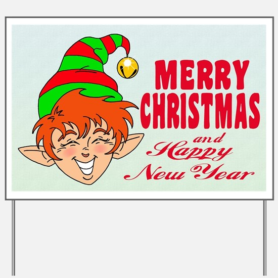 Merry Christmas Elf Yard Sign